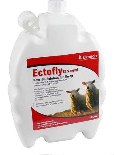 Ectofly 5l 12.5mg/ml Cypermethrin Pour On For the prevention and treatment of blowfly strike in sheep.