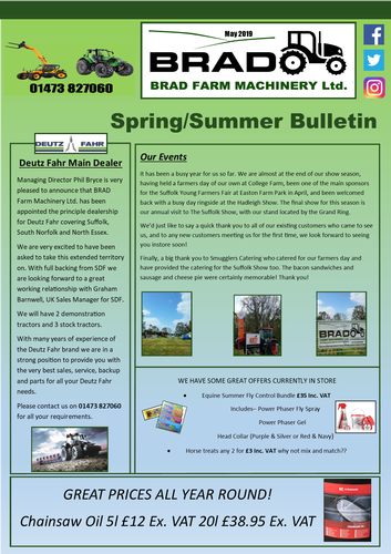 Spring / Summer Bulletin A round up of our most recent news and offers.