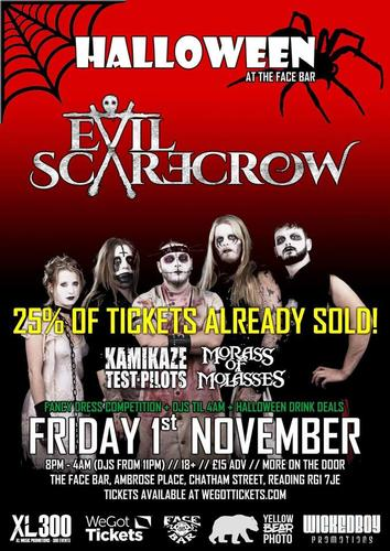 1 November 2019 - Facebar, Reading, Supporting Evil Scarecrow. Keeping them pesky crows away...