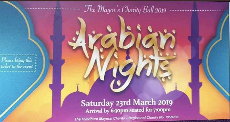 Mayors Charity Ball 2019! 23rd March This years Mayor's Charity Ball theme is Arabian Nights! Saturday 23rd March 2019 Tickets are £30pp available from The Town Hall Accrington.