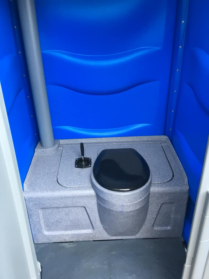 Basic Portable Toilet with Hand Gel Dispenser to hire