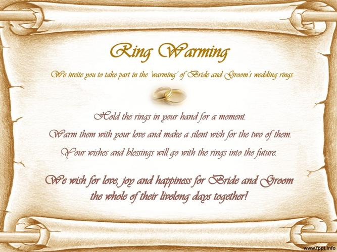 Ring Warming A ring warming ritual can add a personal and meaningful touch to your ceremony.