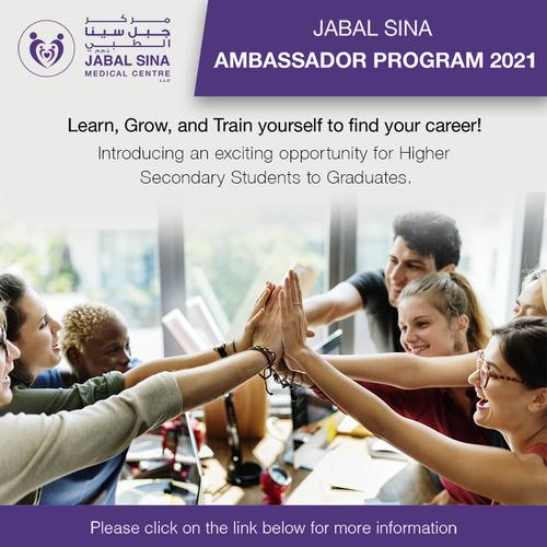 Jabal Sina Medical Centre Ambassador Program Introducing an exciting opportunity for Higher secondary students to graduates
