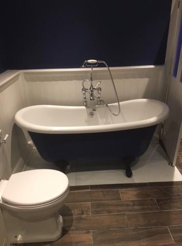 Traditional Bathroom with freestanding bath Traditional bathroom renovation with a statement freestanding bath