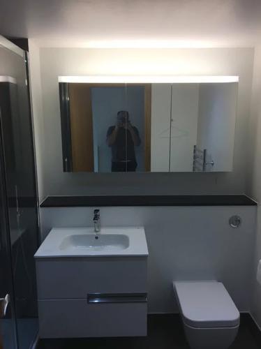 White Modern Bathroom a clean and modern white bathroom renovation.