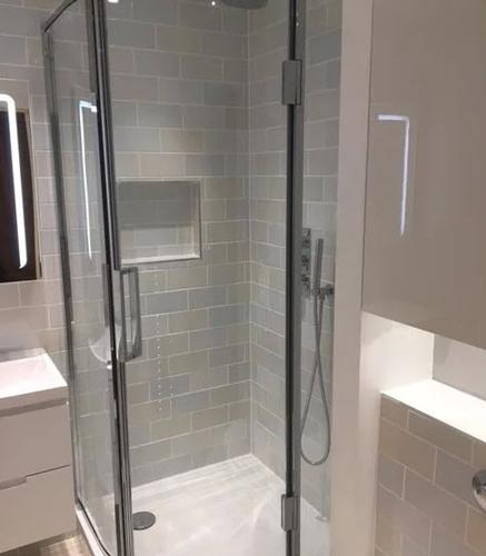 Modern Bathroom with Shower Modern bright bathroom using pastel metro tiles