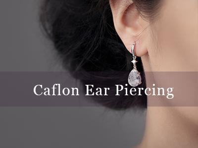 Caflon Ear Piercing Our qualified practitioners can pierce your ears safely if you are looking for professional ear piercing.  This is only of the ear lobe and a gun is used, to ensure it is the most safe and sterile way.  There are a choice of colour studs to choose from.