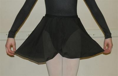 Girls Black Georgette Ballet Skirt