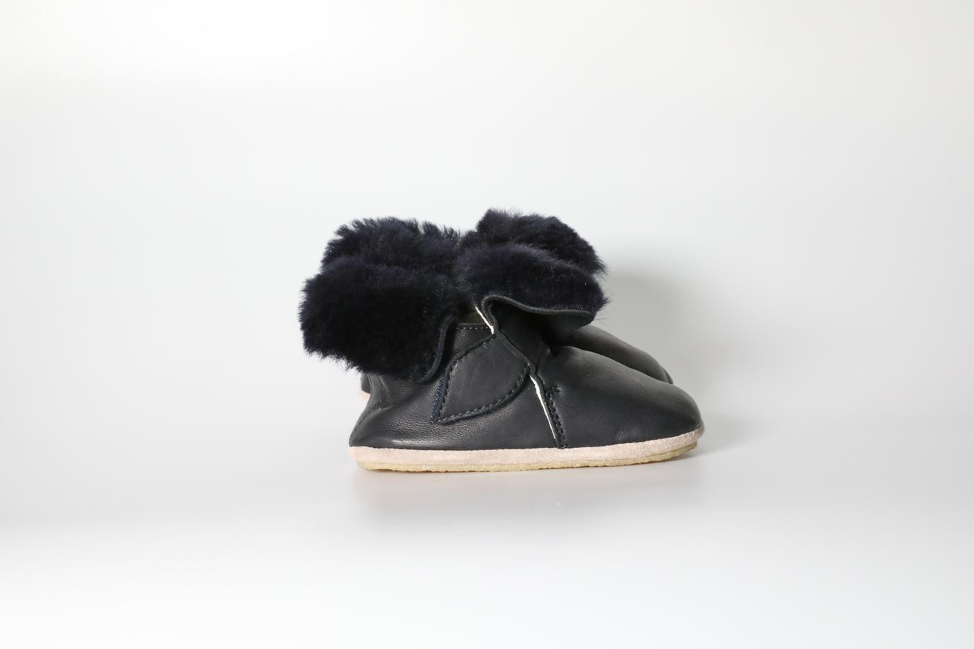 Fur and leather infant boot