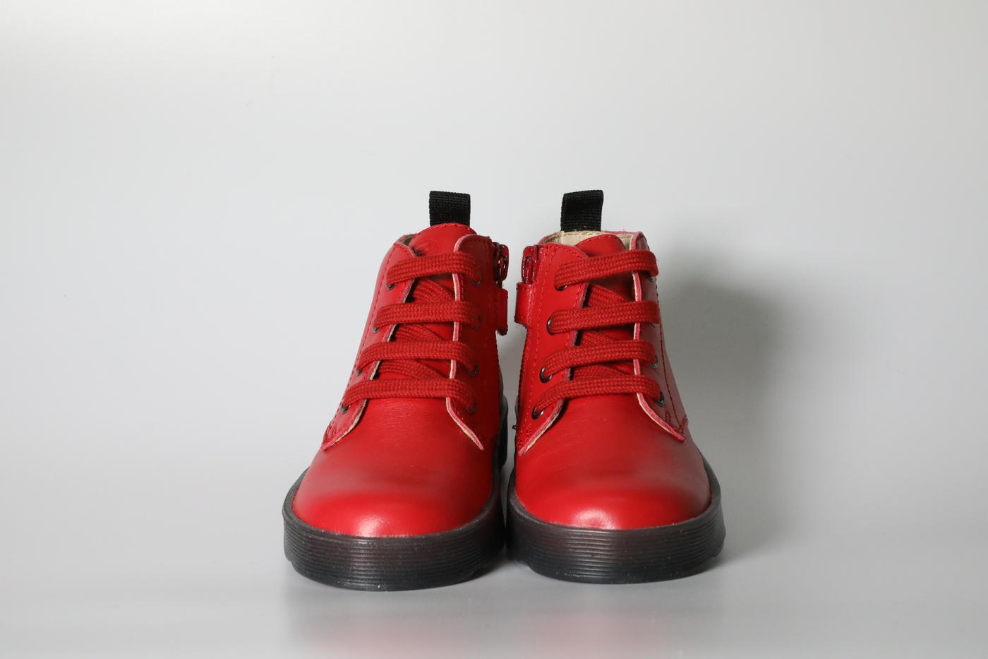 Red lace-up boots
