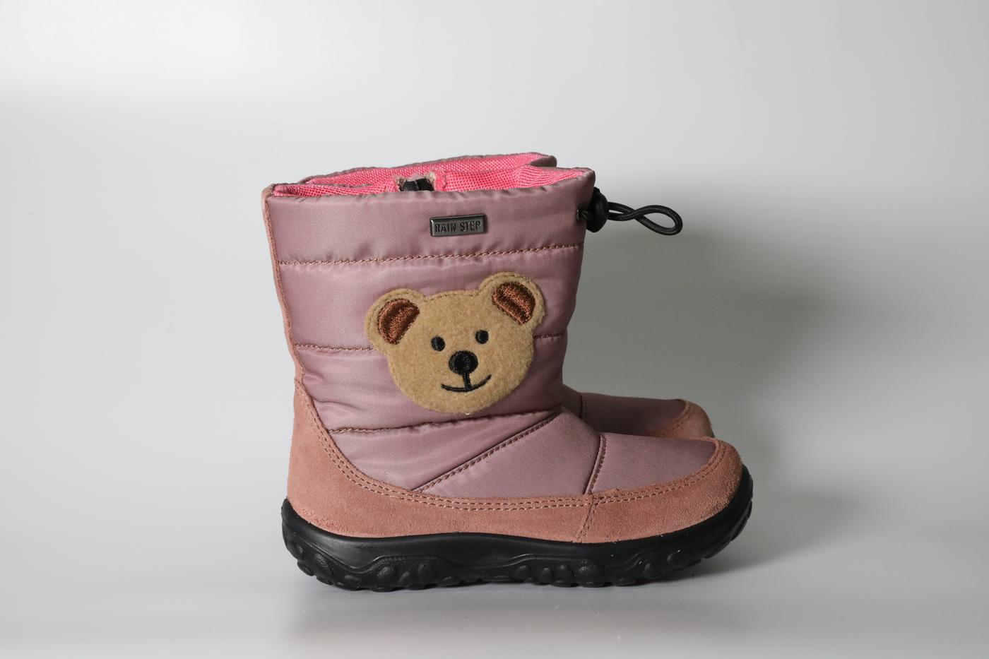 Blush pink bear rainboots