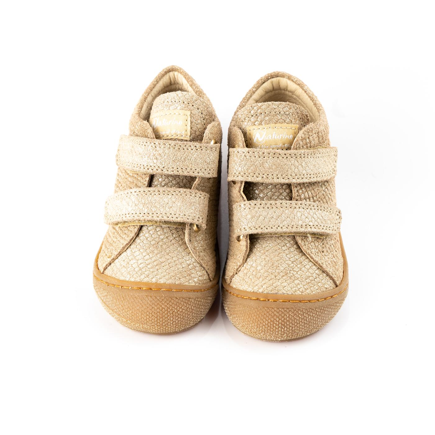 Gold & Brown Glitter Trainers