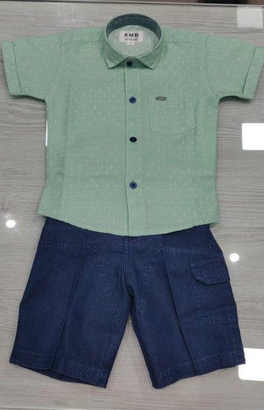 Shirt and Dark Blue Shorts Set