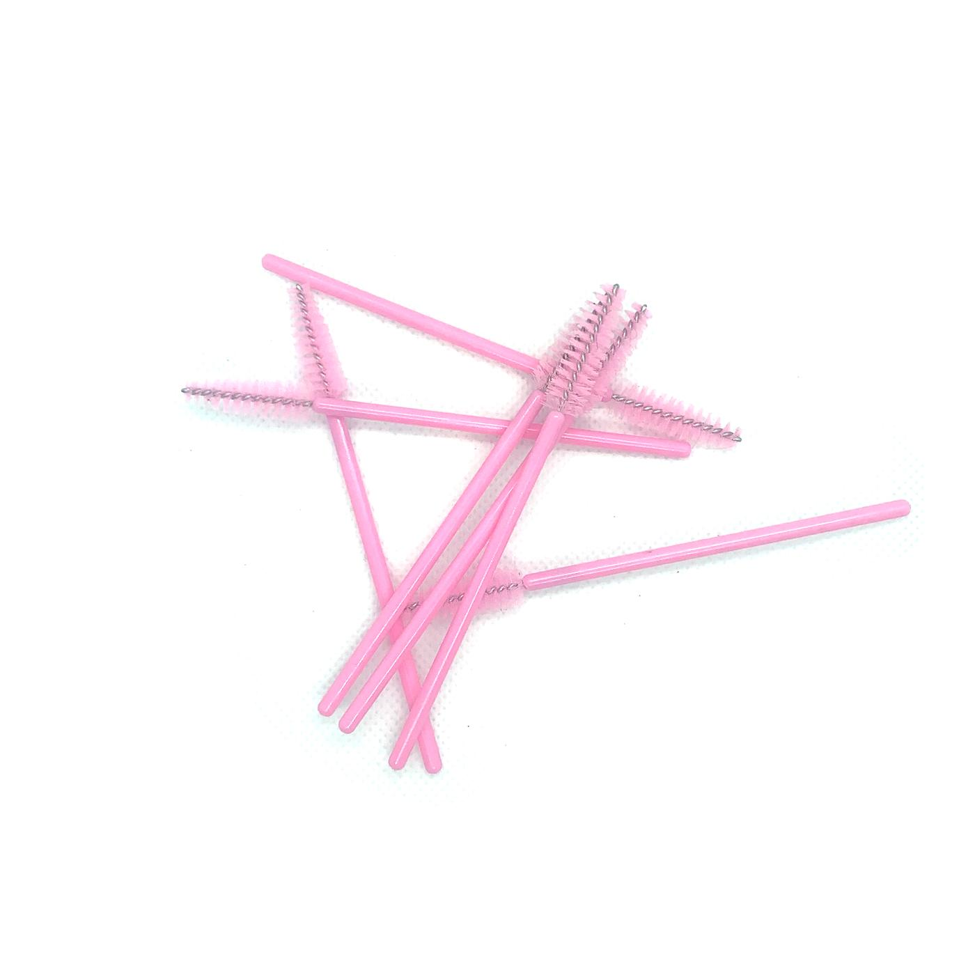 Disposable pink mascara wands