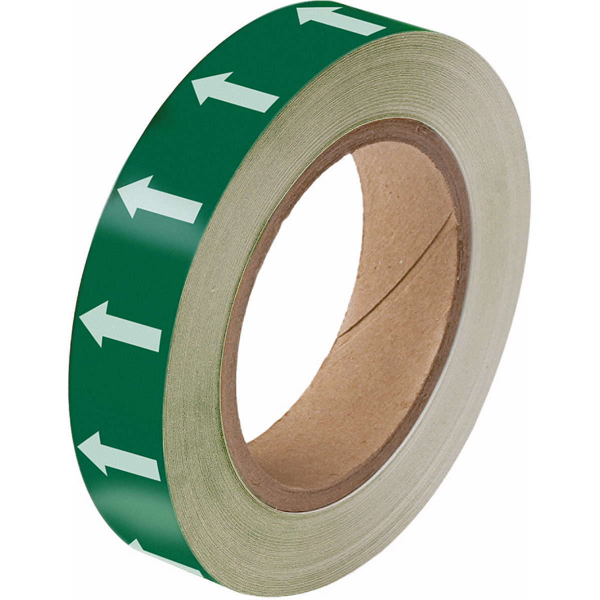White on Green Directional Flow Arrow Tape