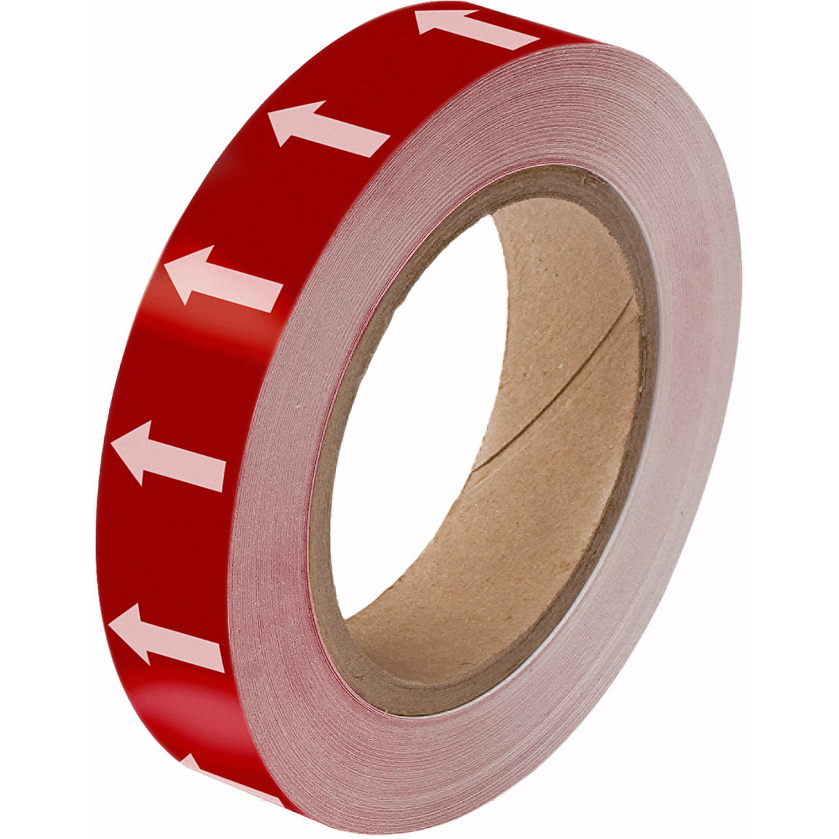 White on Red Directional Flow Arrow Tape