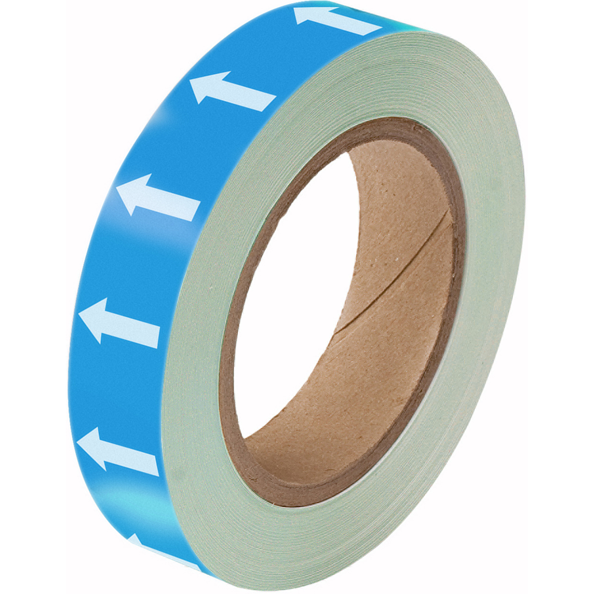 White on Blue Directional arrow Tape