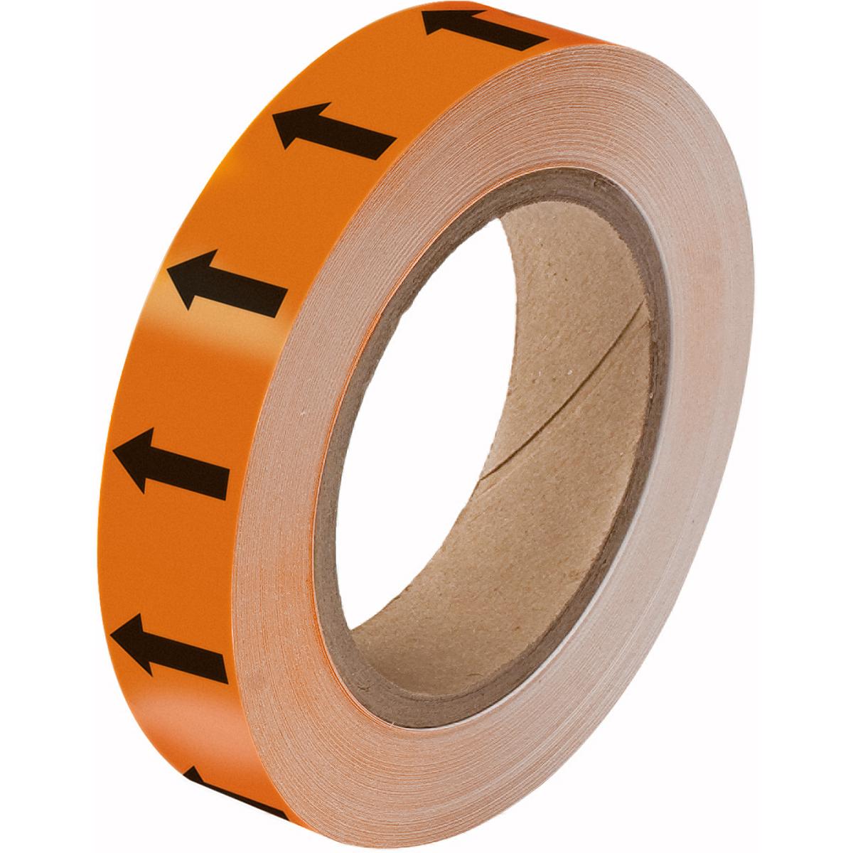Black on Orange 25mm Directional Flow Arrow Tape