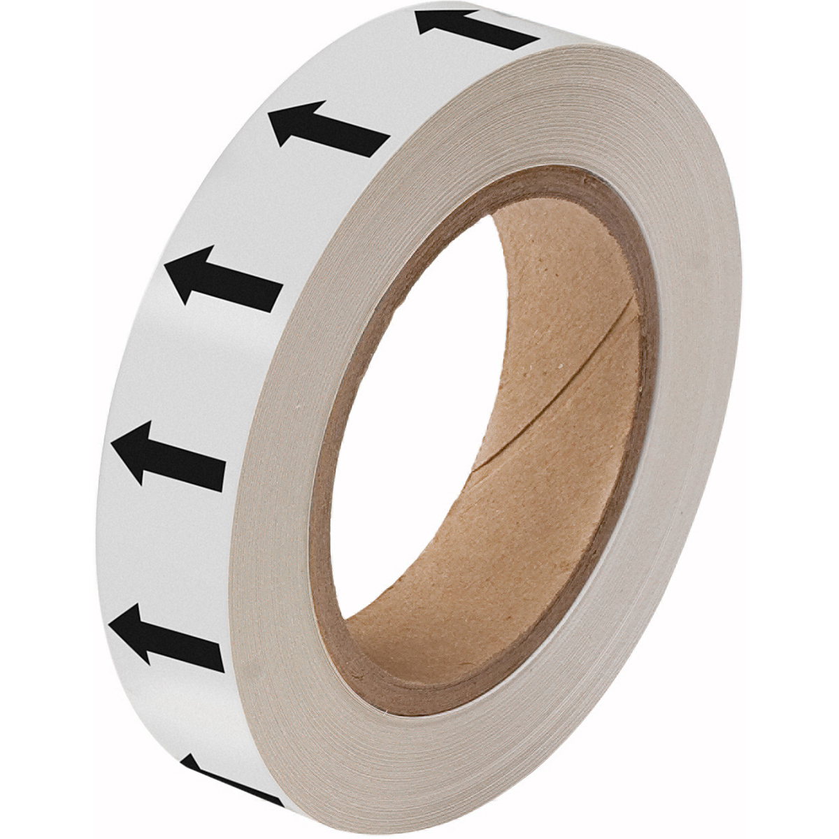 Black on White 25 mm Directional Flow Arrow Tape