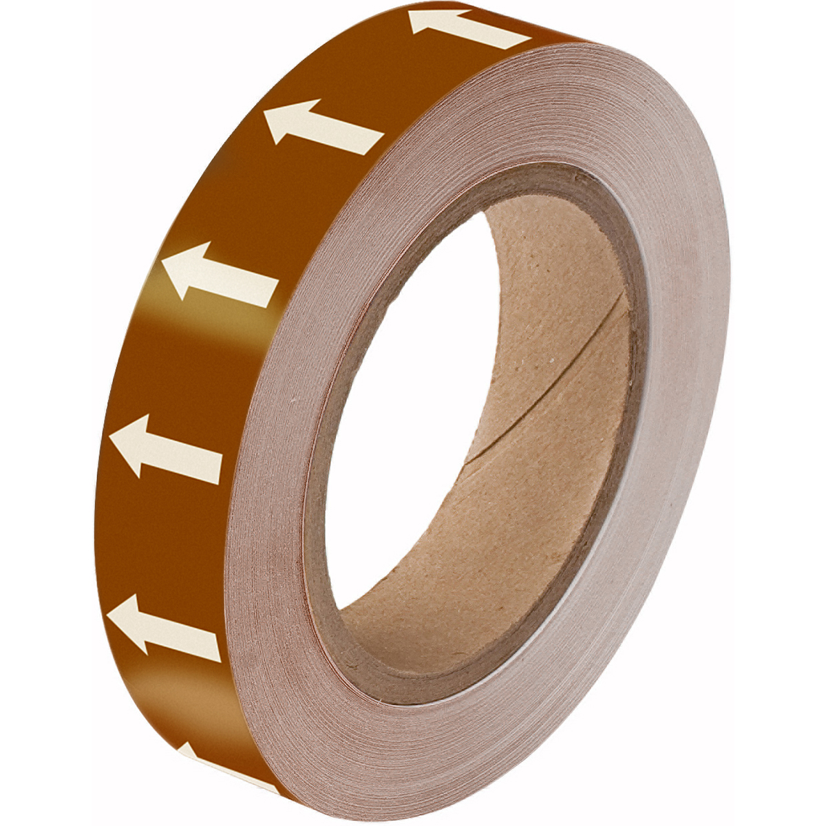 White on Brown Directional Flow Arrow Tape