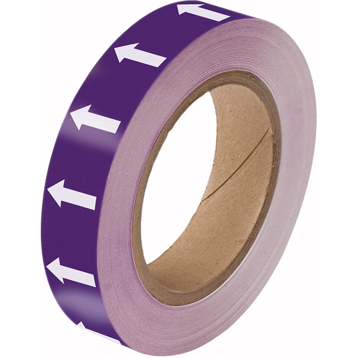 White on Purple Directional Flow Arrow Tape