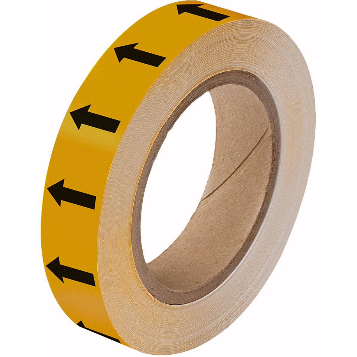 Black on Yellow Directional Flow Arrow Tape