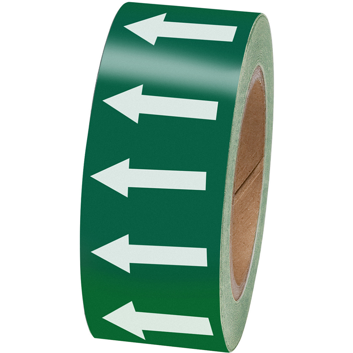 White on Green 50mm Directional Flow Arrow Tape