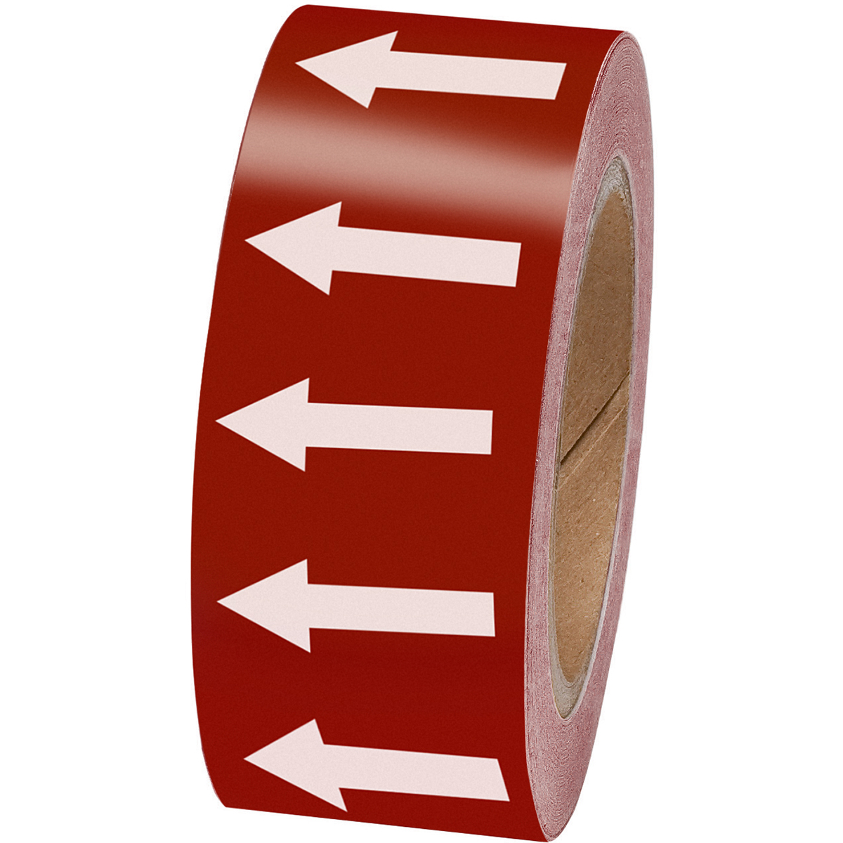 White on Brown 50mm Directional Flow Arrow Tape