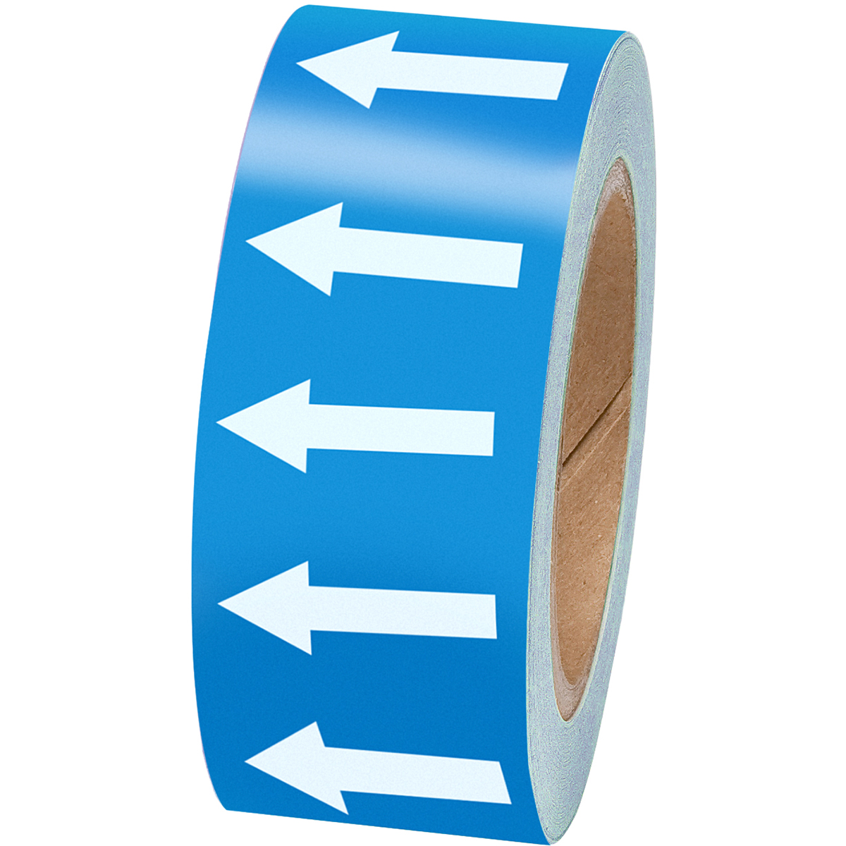 White on Blue 50mm Directional Flow Arrow Tape