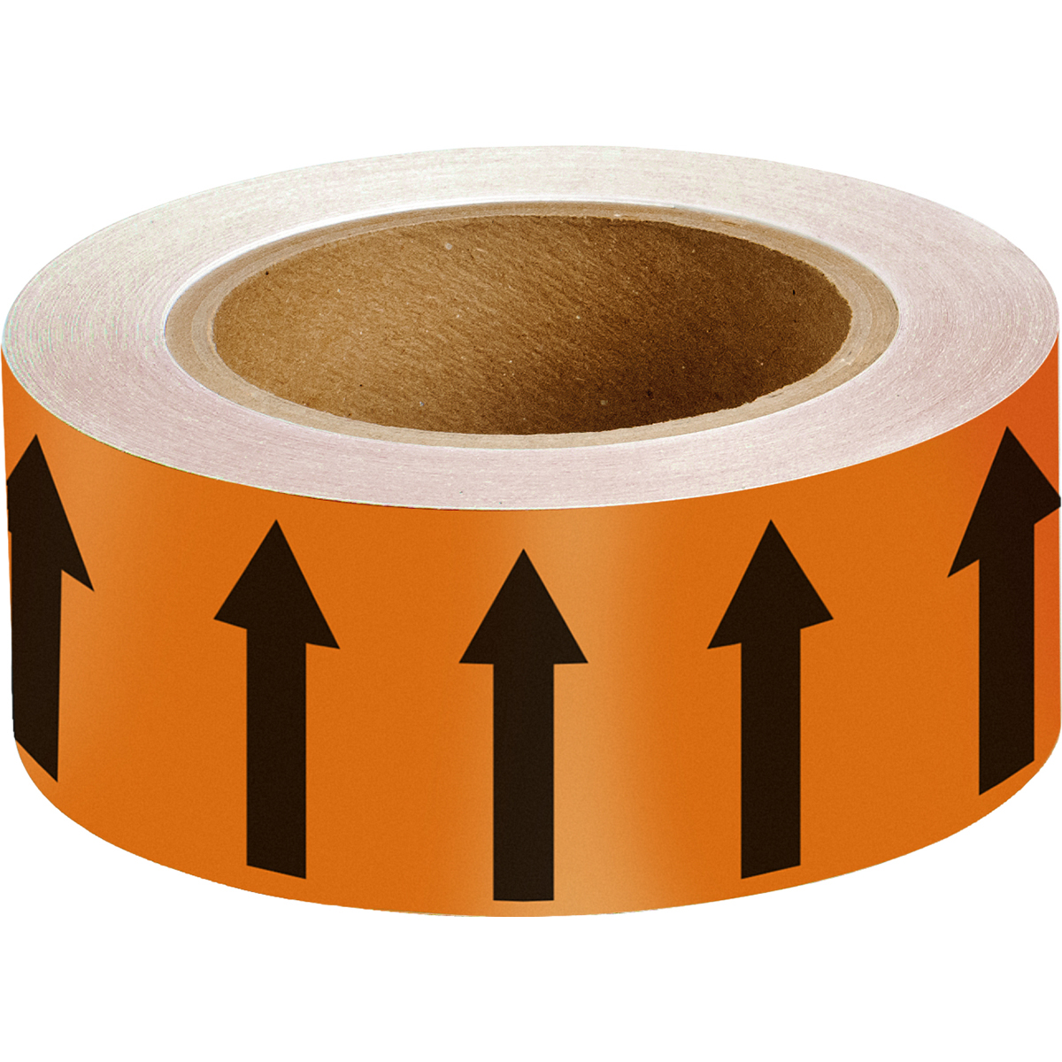 Black on Orange 50mm Directional Flow Arrow Tape