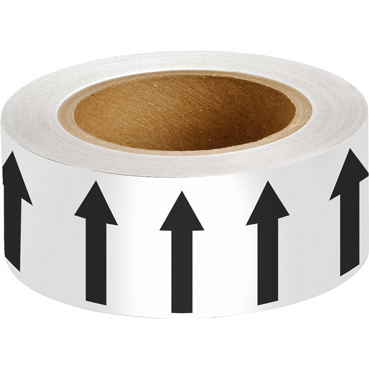 Black on White 50mm Directional Flow Arrow Tape
