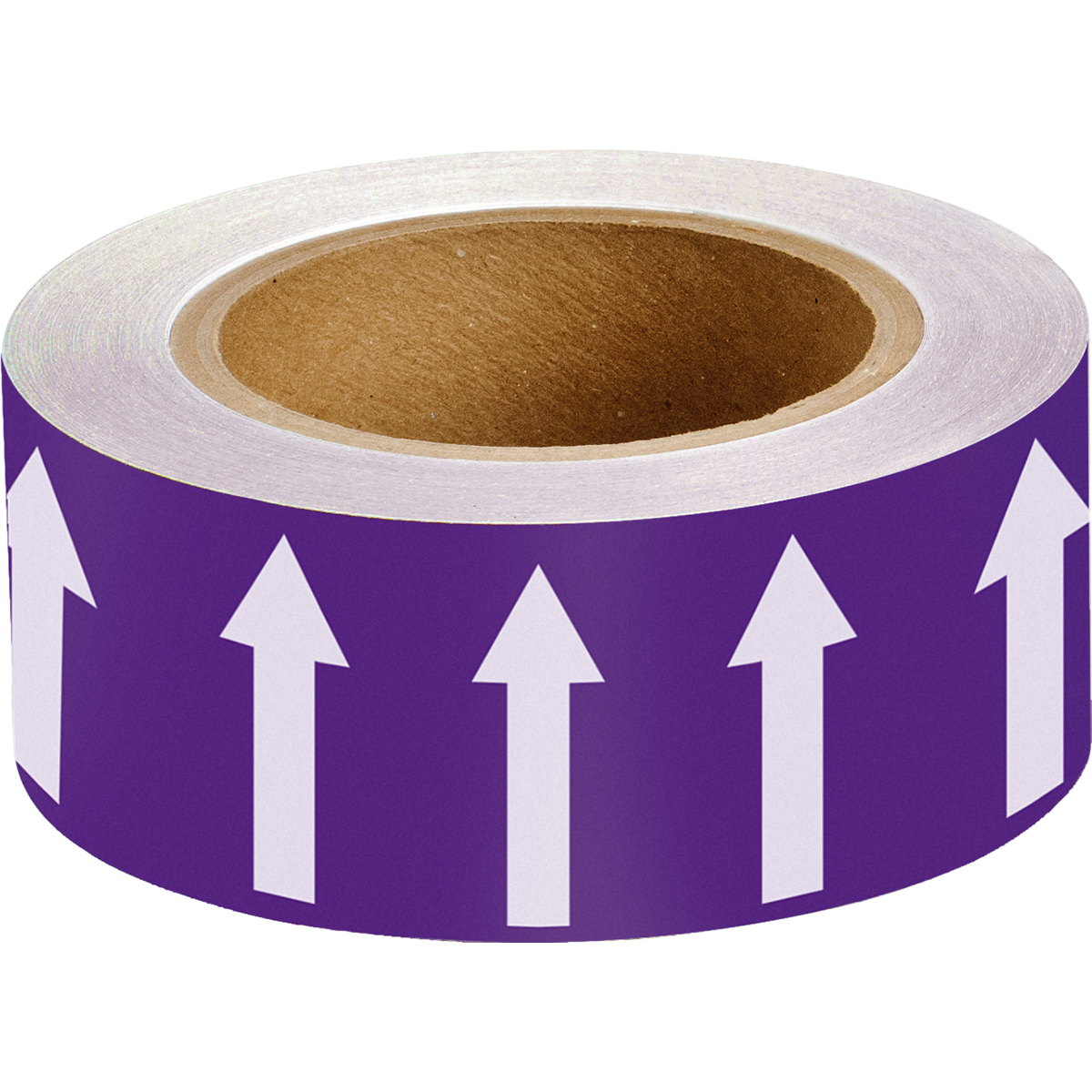 White on Purple 50mm Directional Flow Arrow Tape