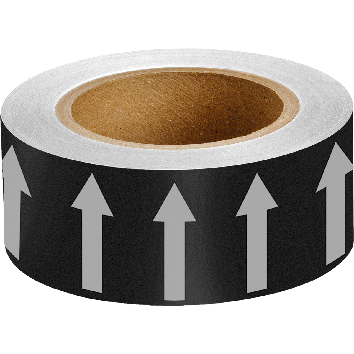 White on Black 50mm Directional Flow Arrow Tape