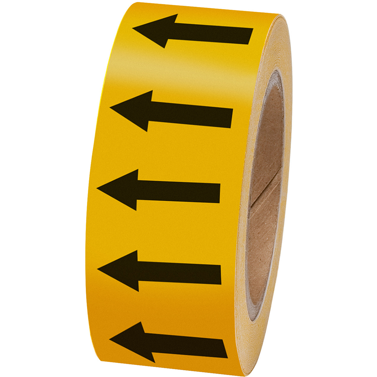 Black on yellow 50mm Directional Flow arrow Tape