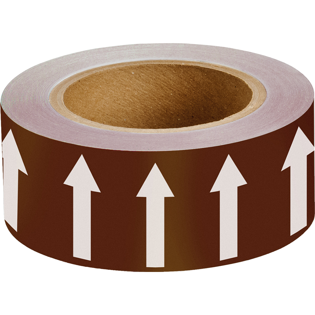 White on Brown 50 mm Directional Flow Arrow Tape