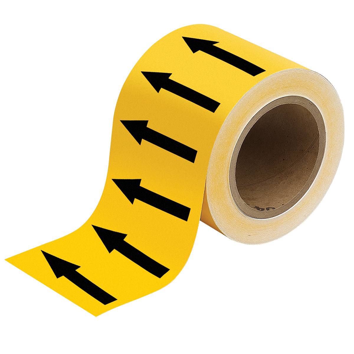 Black on yellow 100mm Directional Flow arrow Tape