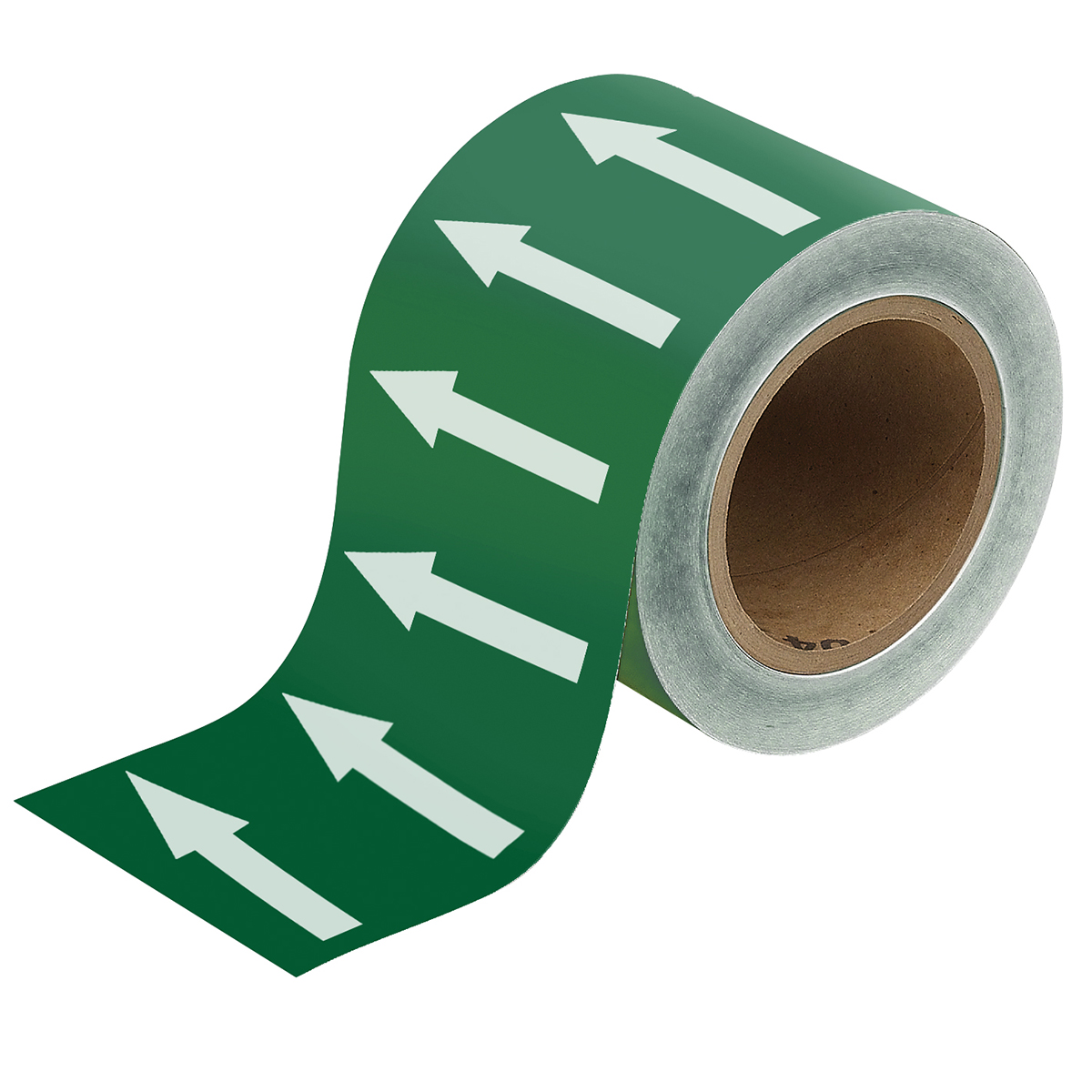 White on Green 100mm Directional arrow Flow Tape