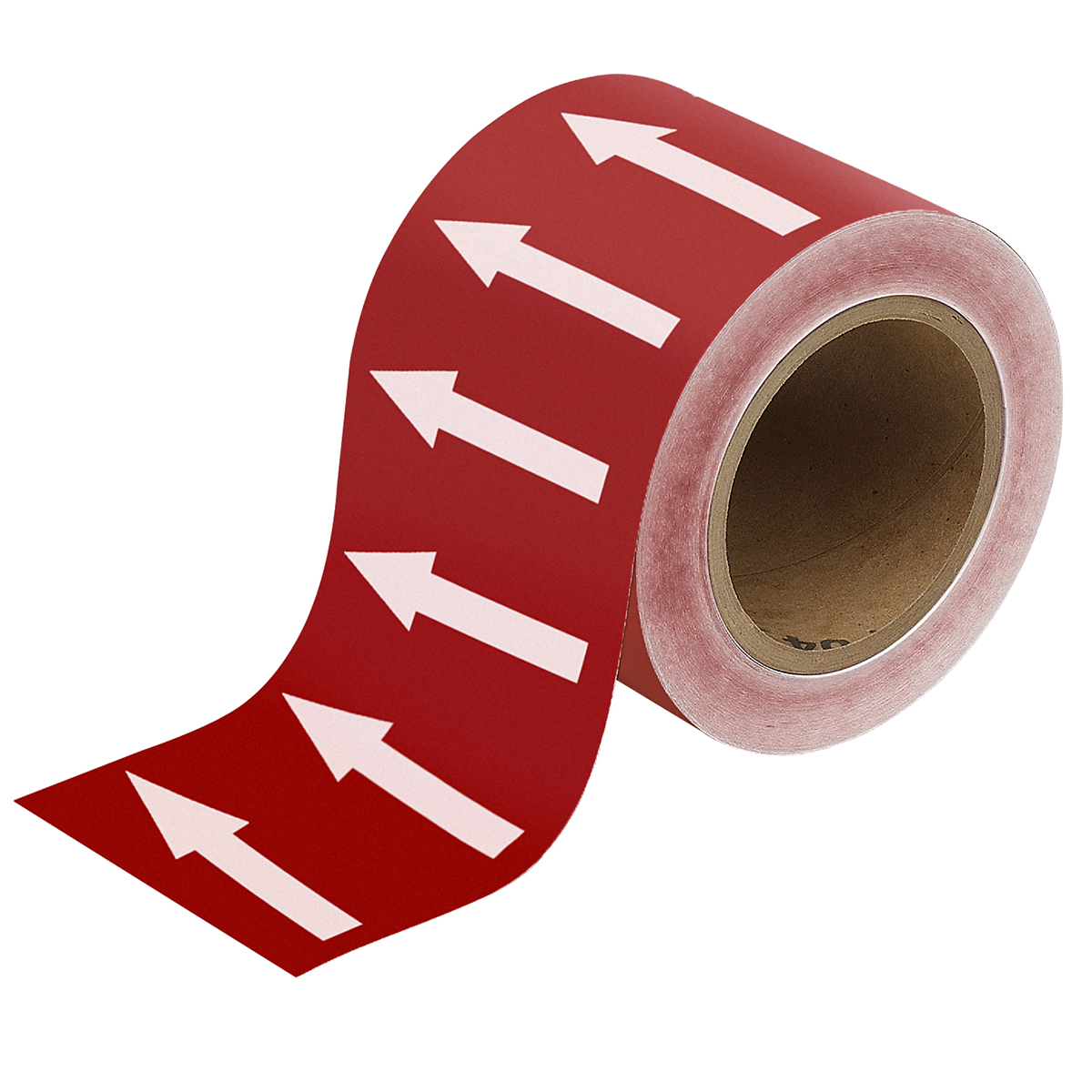 White on Red 100mm Directional Flow Arrow Tape
