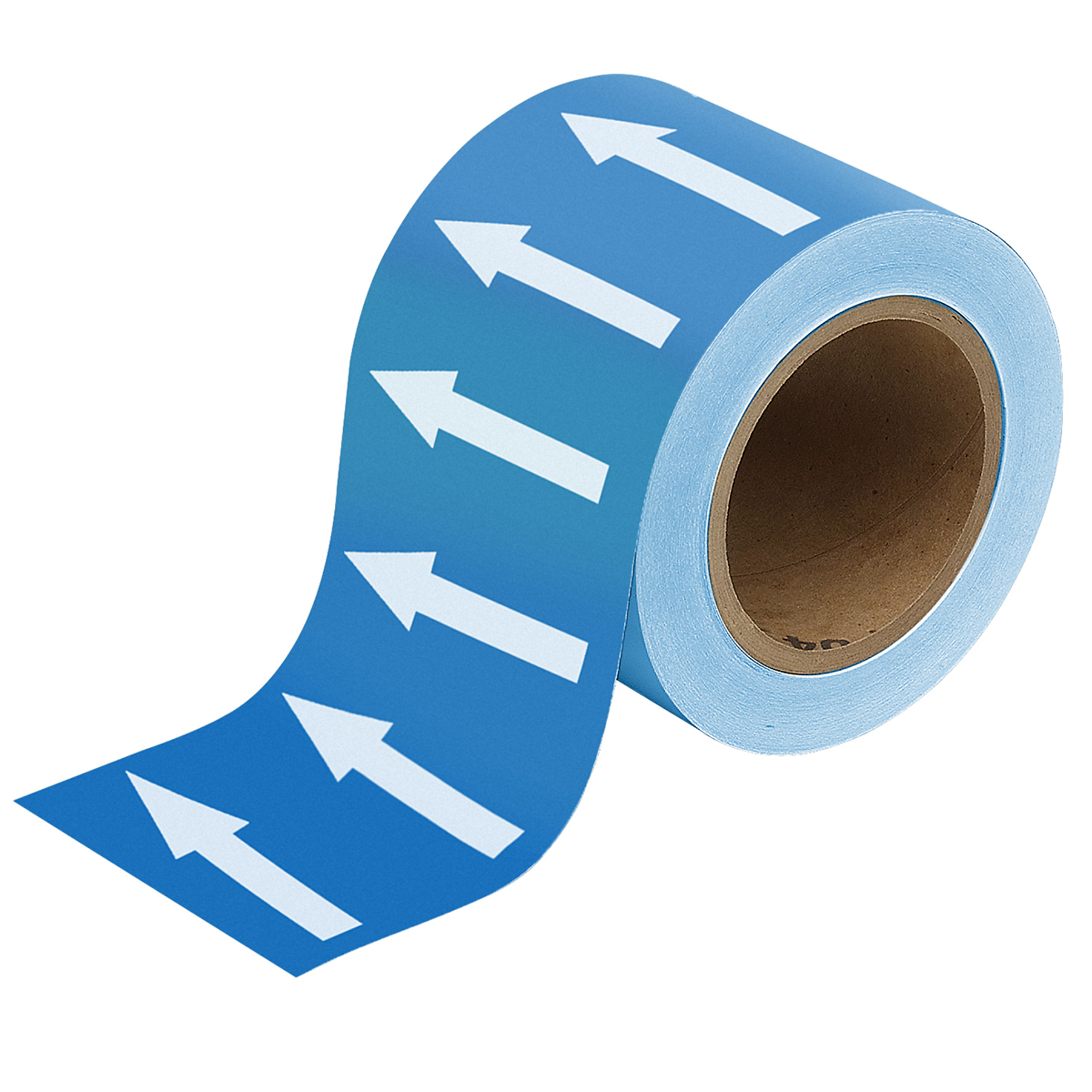 White on Blue 100mm Directional Flow Arrow Tape
