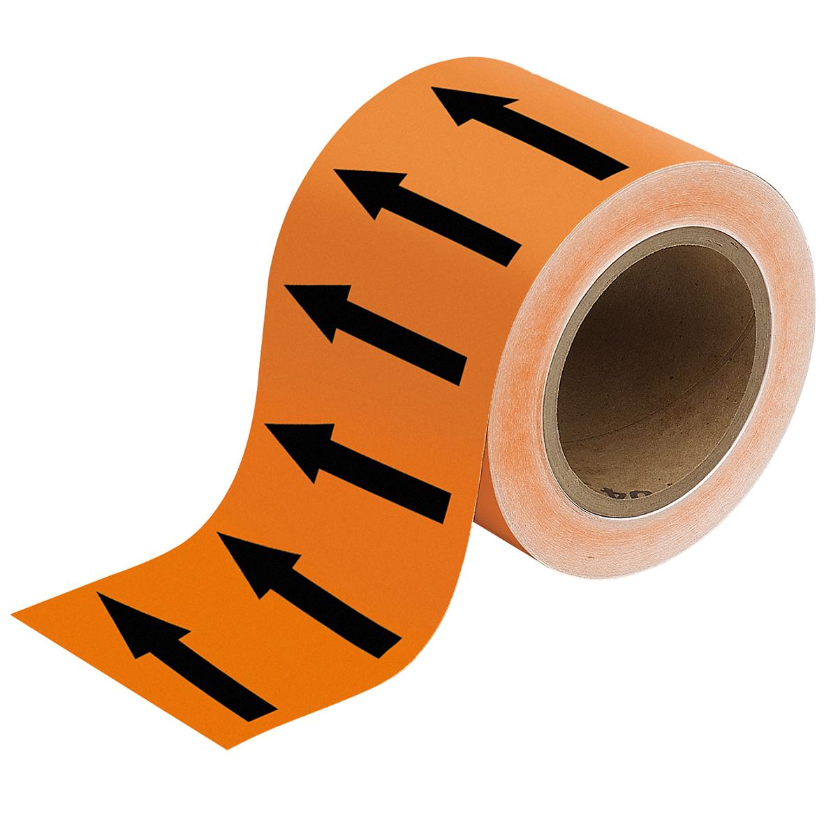Black on Orange 100mm Directional Flow Arrow Tape