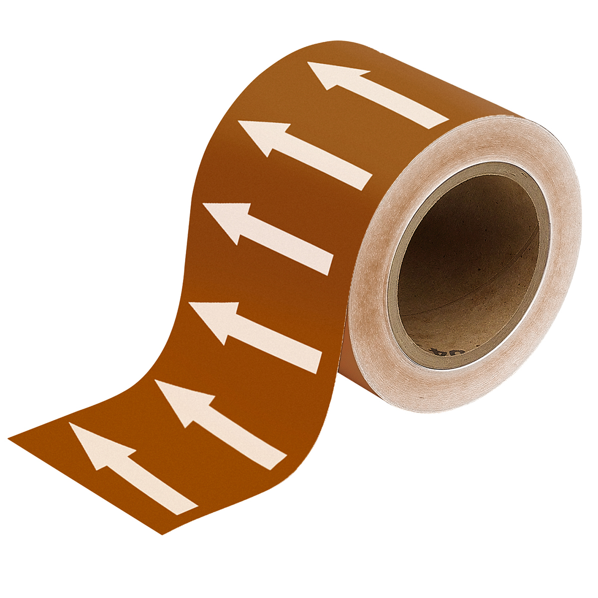 White on Brown 100mm Directional Flow Arrow Tape