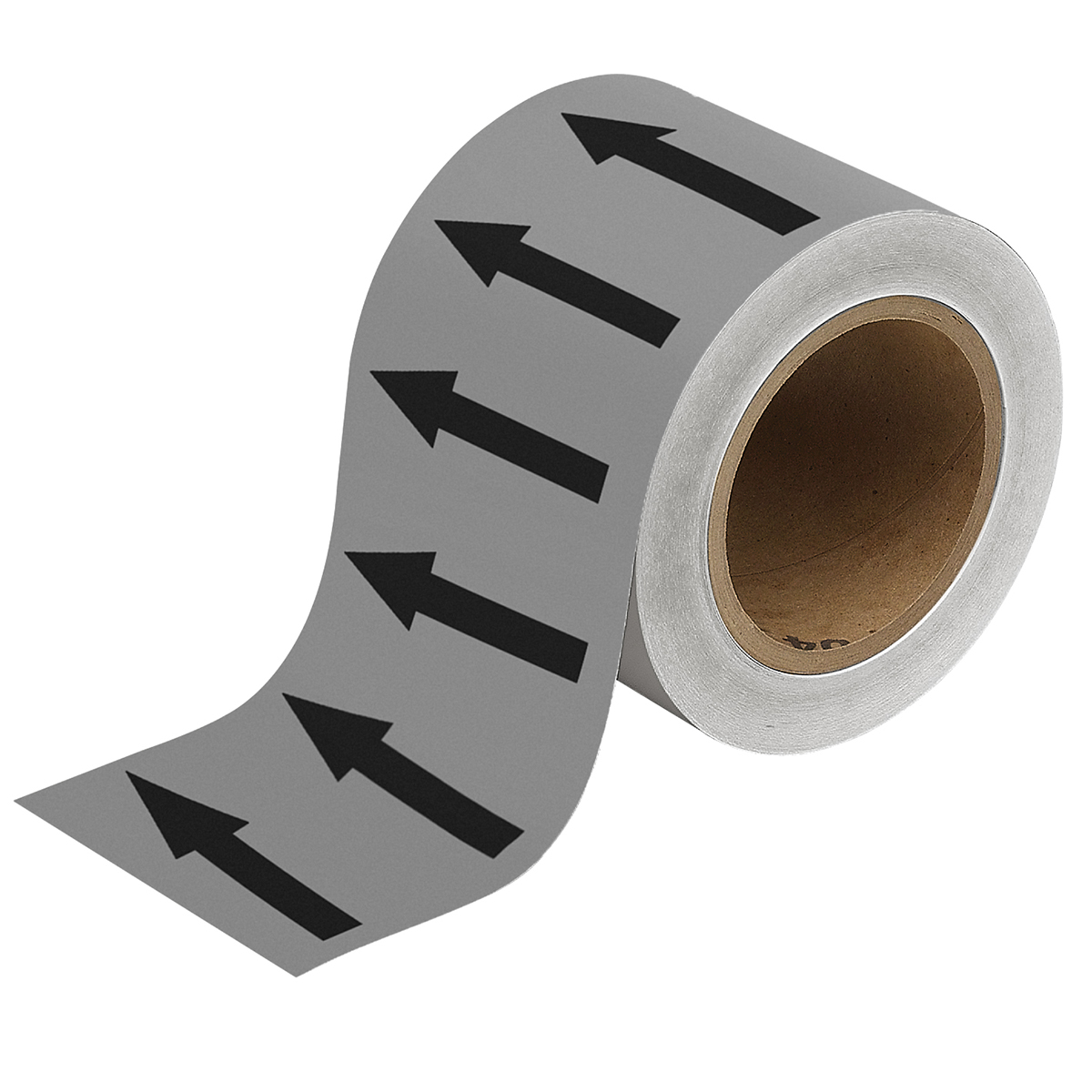Black on Grey 100mm Directional Flow Arrow Tape