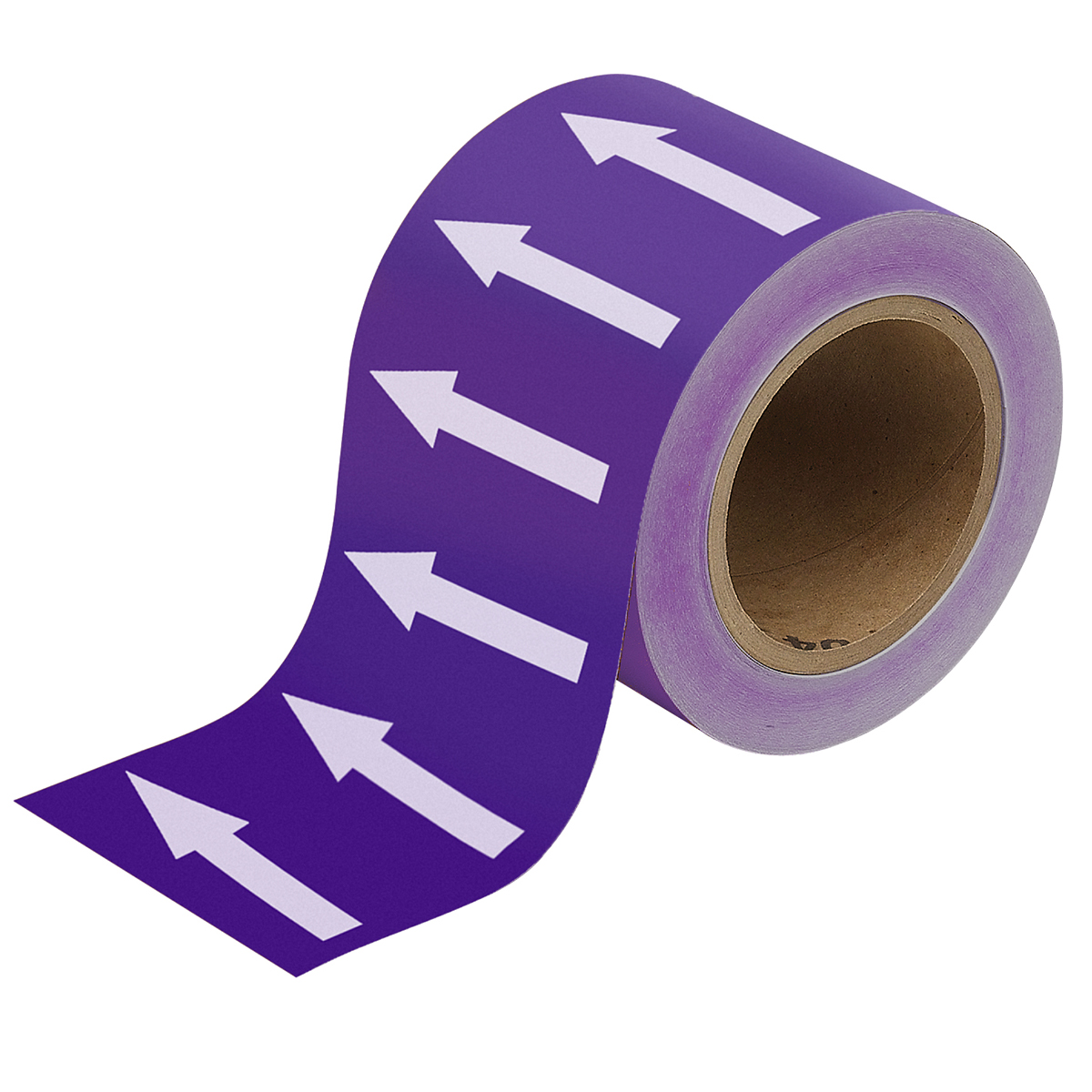 White on Purple 100mm Directional Flow Arrow Tape