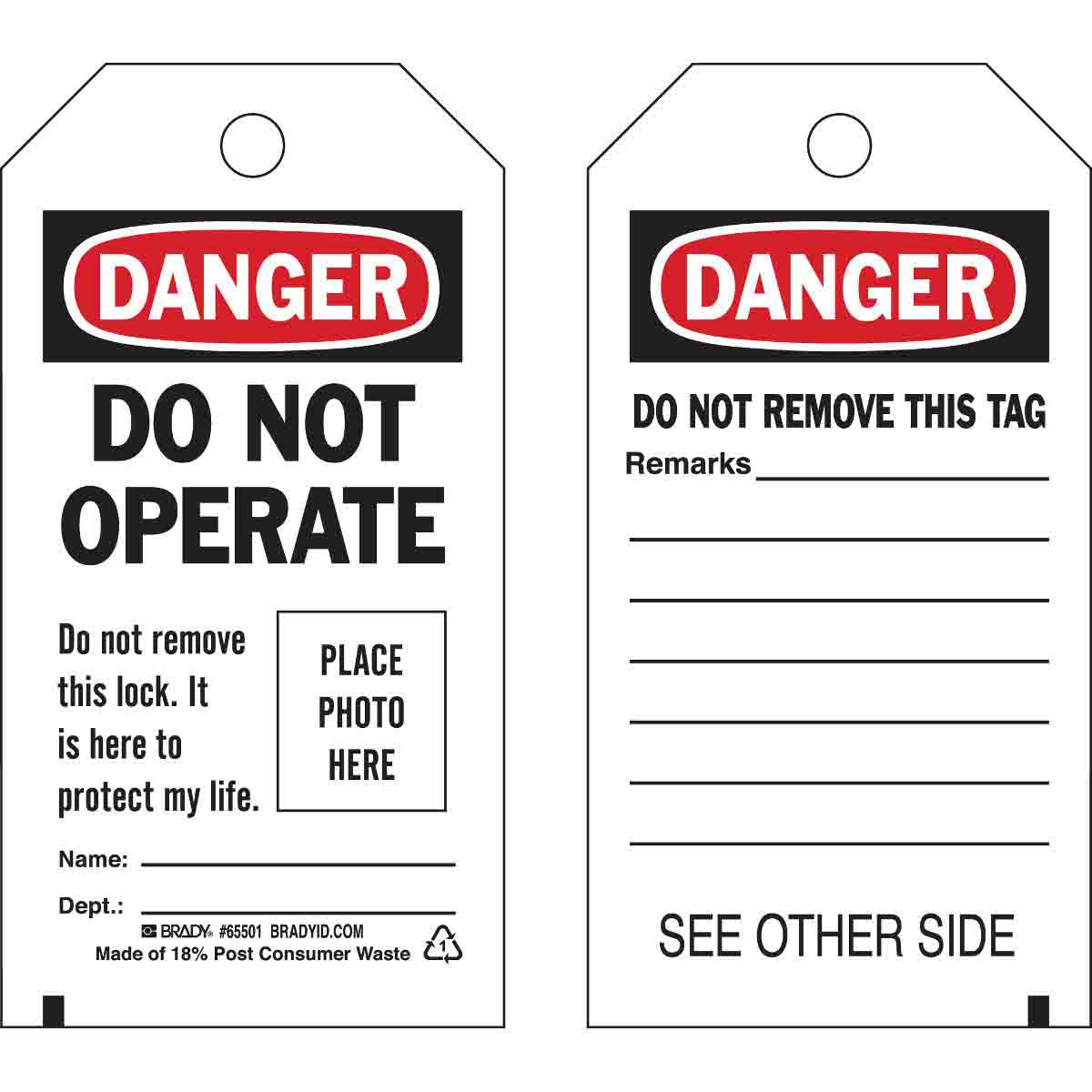 Do Not Operate Tags with photographs