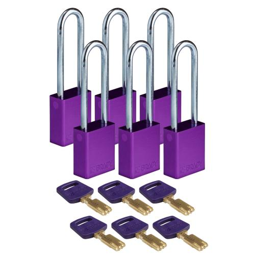 Safekey Aluminium Padlocks Long Shackle - pk of 6