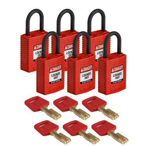 Safekey Nylon Compact Padlocks - pk of 6
