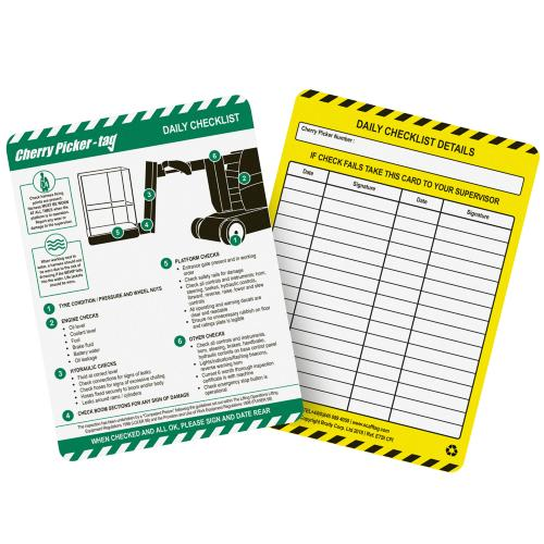 Cherry Picker Inspection Tag Inserts