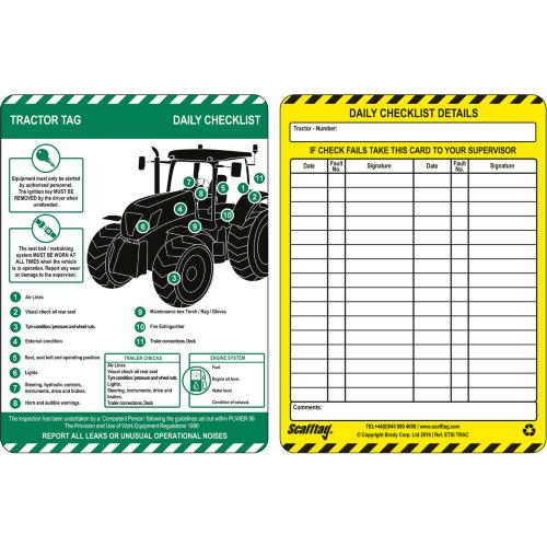 Tractor Tag Inspection Inserts