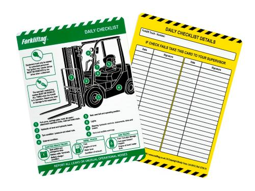Forklift tag Inspection Inserts