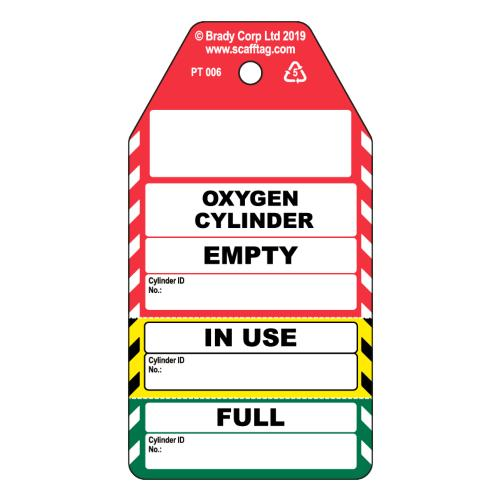 Oxygen Cylinder 3 Part Tags